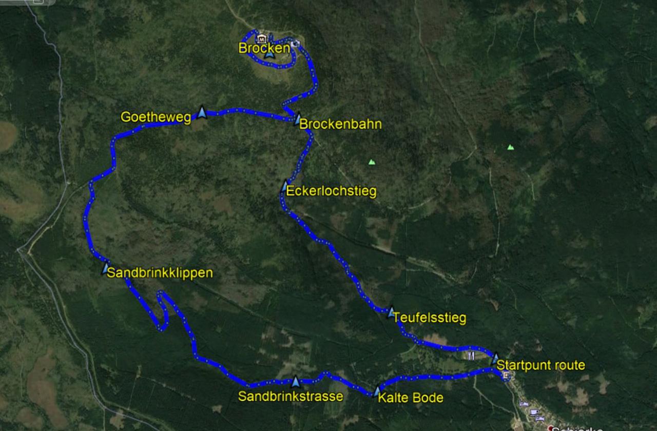 routekaart rondwandeling Brocken Harz Teufelsstieg en Goetheweg