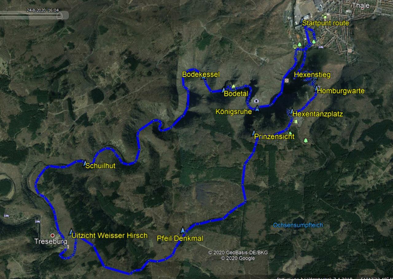 routekaart rondwandeling Thale Bodetal en Treseburg
