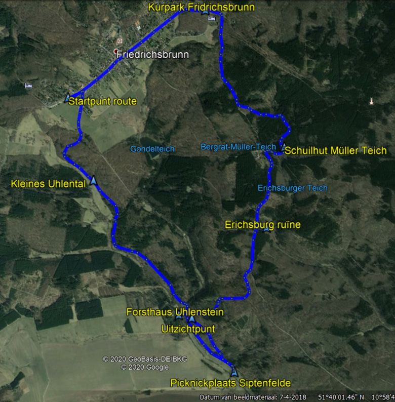 routekaart rondwandeling Friedrichsbrunn Uhlenbachtal