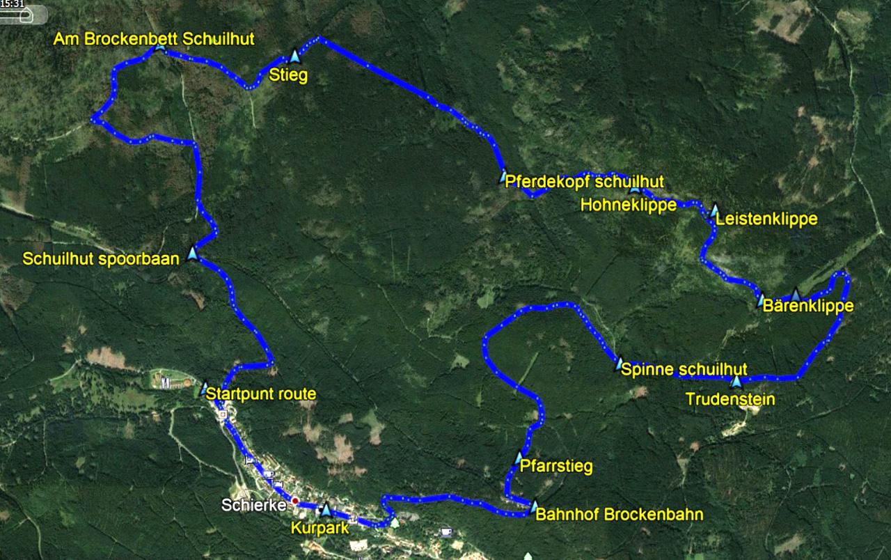 Routekaart rondwandeling Schierke Harz