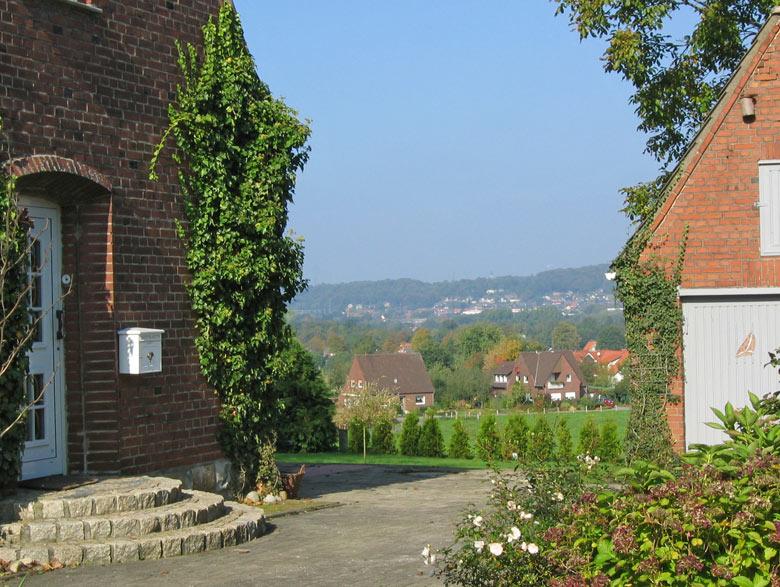 uitzicht tussen de huizen door