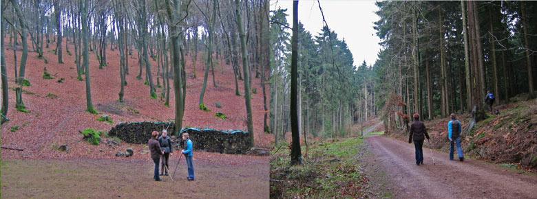 Links; Rastplatz Krause Eiche, rechts; het begint te stijgen