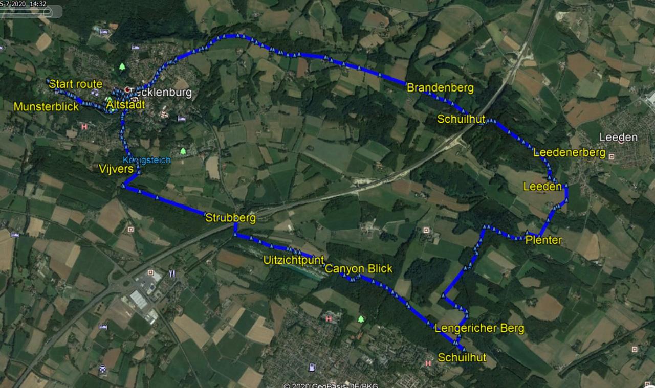 wandelroutekaart Tecklenburg - Leeden - Lengerich