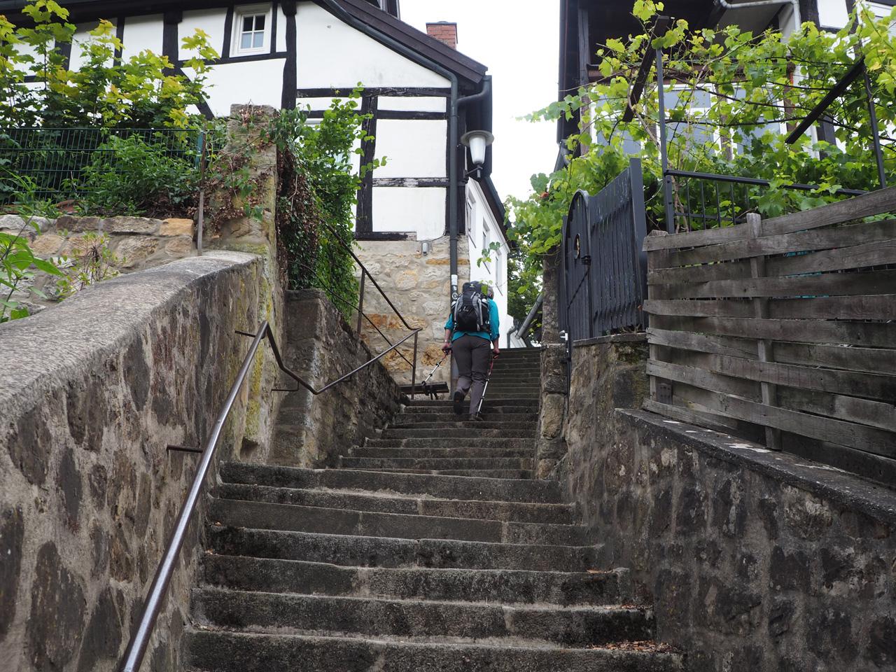 trap en steegjes tot in het centrum