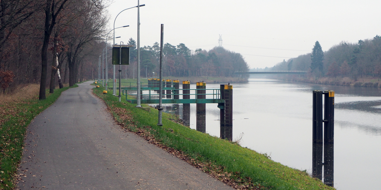 langs het kanaal terug naar Hüntel