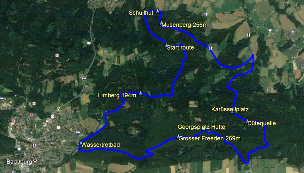 routekaart rondwandeling Bad Iburg Musenberg