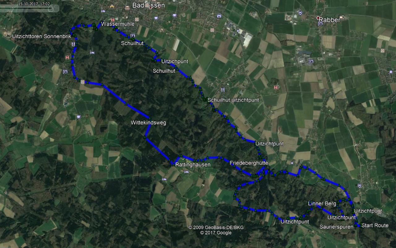 routekaart rondwandeling Bad Essen