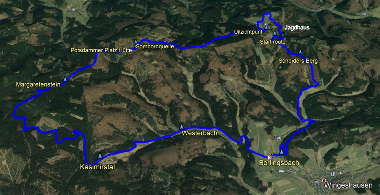 routekaart rondwandeling Jagdhaus Schmallenberg Rothaarsteig