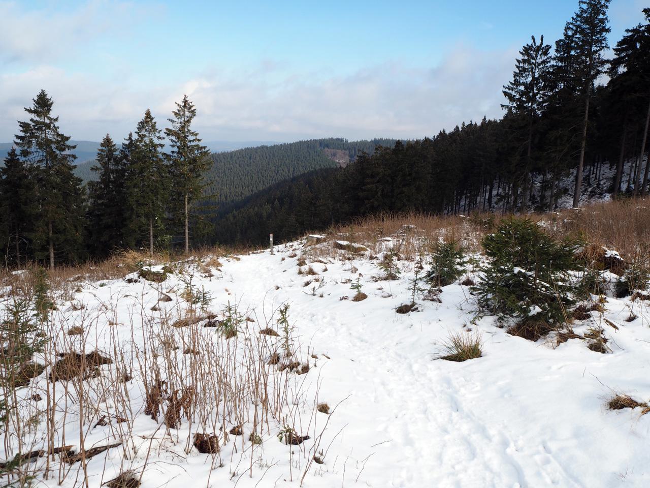 mooi winterweer met blauwe lucht en sneeuw
