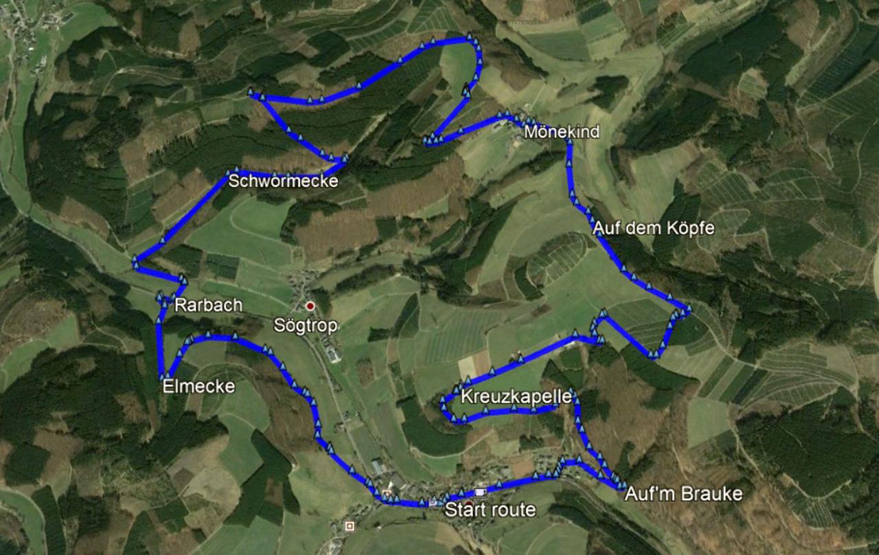 routekaart rondwandeling Kirchrarbach Schmallenberg