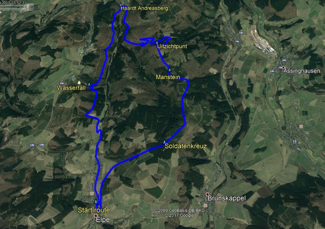 routekaart rondwandeling Elpe Olsberg