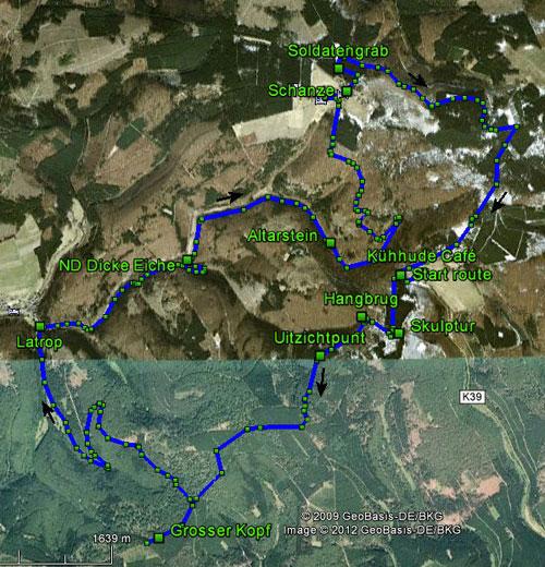 routekaart rondwandeling Kühhude Winterberg Rothaarsteig