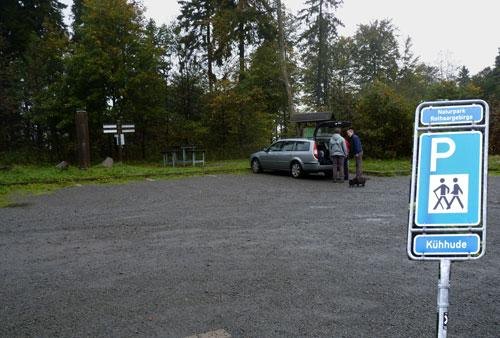 een verlaten Wanderparkplatz Kühhude
