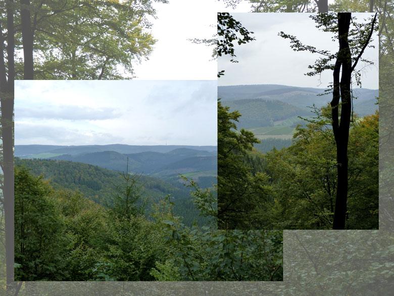 op deze hoogteweg dan een paar hele mooie vergezichten over het Rothaargebirge