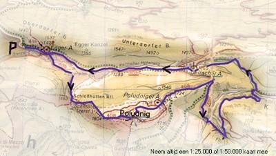 Wandelkaart route Egger Alm