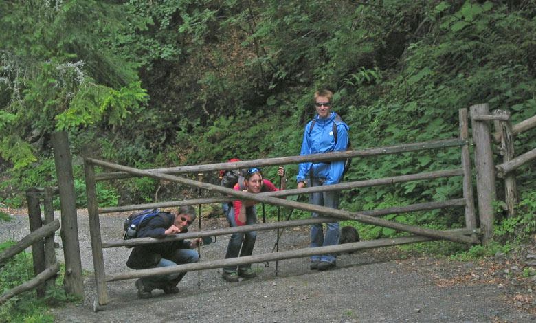 poseren bij een hek