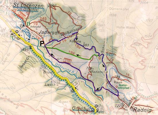 routekaart rondwandeling Weissenbachklamm