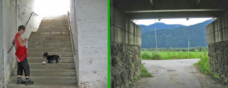 tunnel Emmersdorf met een trap die 'nergens' naar toe gaat