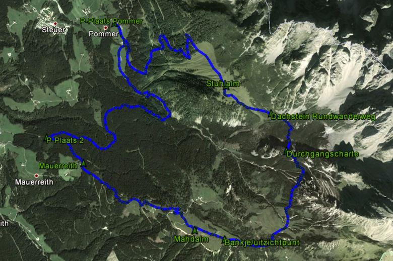 routekaart rondwandeling Annaberg Gosaukamm