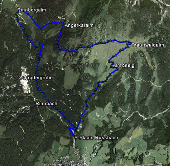 routekaart rondwandeling Russbach Salzburgerland