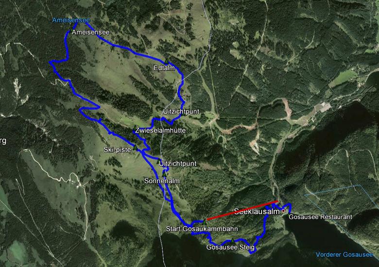 routekaart rondwandeling Gosausee en Gosaukamm