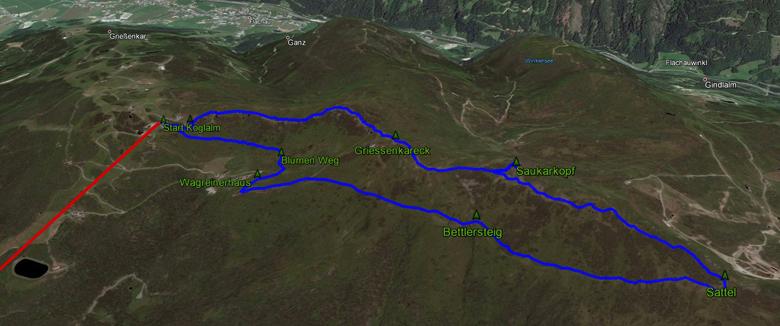 routekaart rondwandeling Wagrain Saukarkopf im Pongau