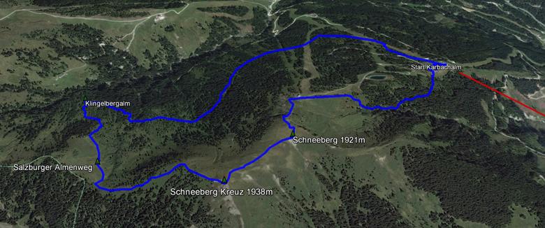 routekaart rondwandeling Mühlbach am Hochkönig