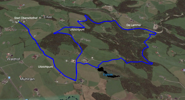 routekaart rondwandeling Abtenau Egelsee