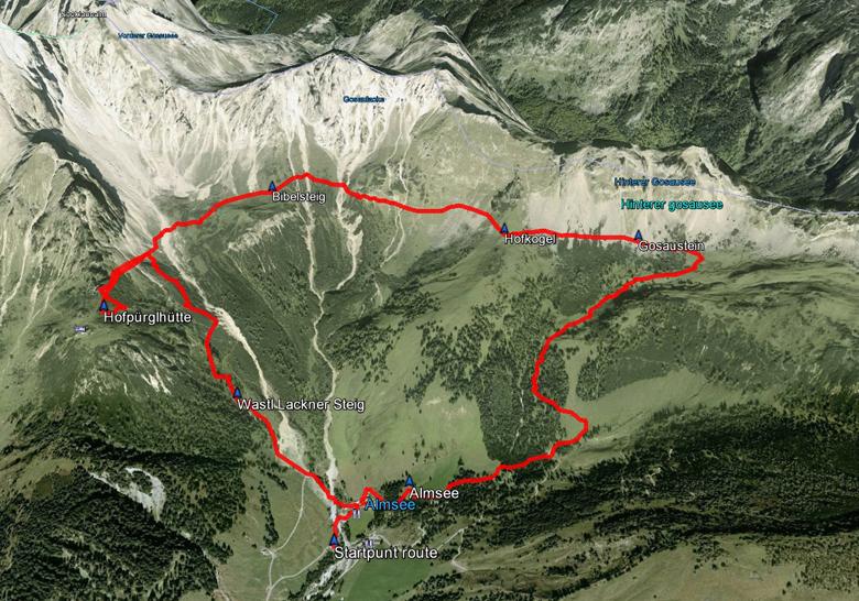 routekaart rondwandeling Filzmoos Dachstein
