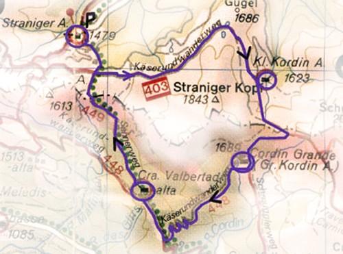 Wandelkaart Straniger Alm.