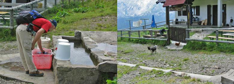 bij de Italiaanse Grosse Kordin Alm vullen we ons water aan. Buiten de kip en de hond hebben we niemand gezien
