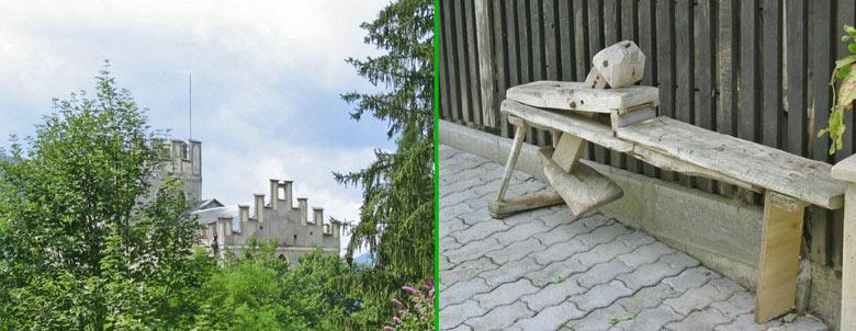 slechts een stukje van het kasteel is zichtbaar - rechts een vreemd stuk gereedschap in de tuin
