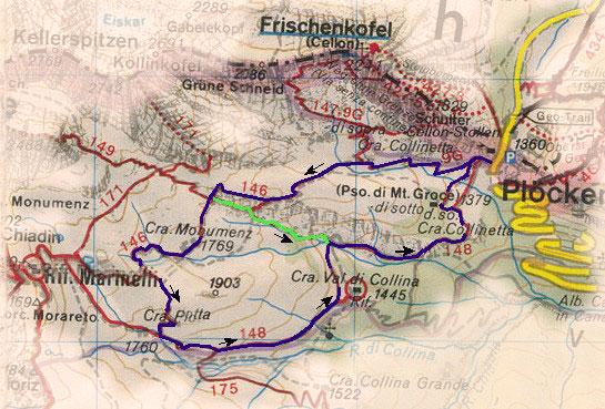 rondwandeling routekaart Plöckenpass