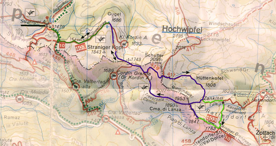 routekaart rondwandeling Ringmauer