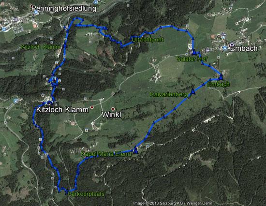 routekaart Kitzlochklamm