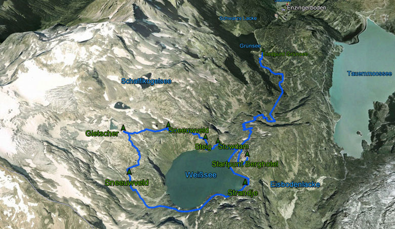 routekaart rondwandeling Weisssee