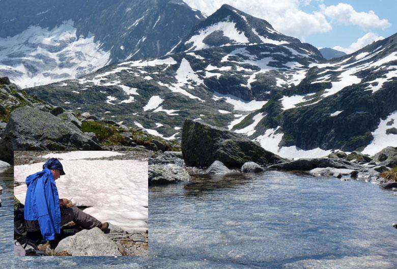 picknick tussen tussen de sneeuw en ijsschotsen