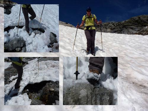 voorzichtig de sneeuwvelden op en afstappen