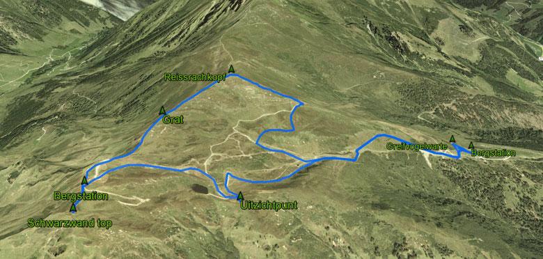 routekaart rondwandeling Schwarzwand en Reissrachkopf