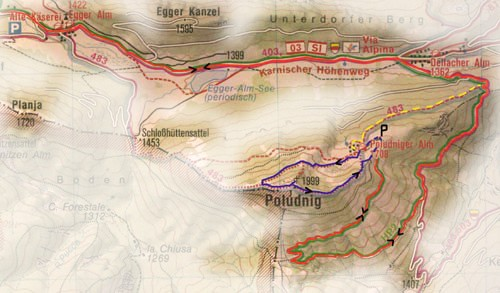 Wandelkaart Poludnig