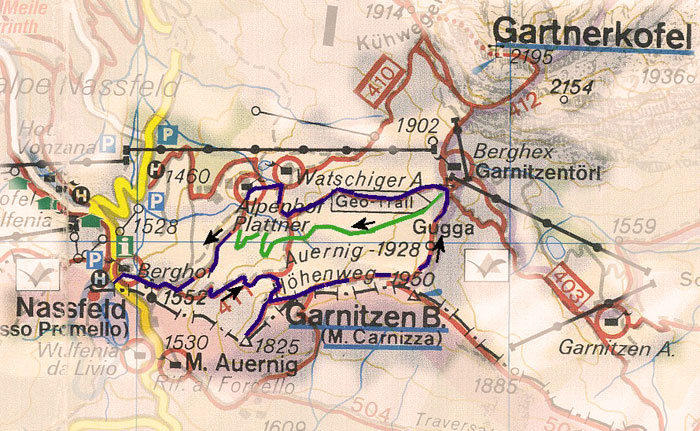 routekaart rondwandeling Auernig Garnitzenberg en Gugga