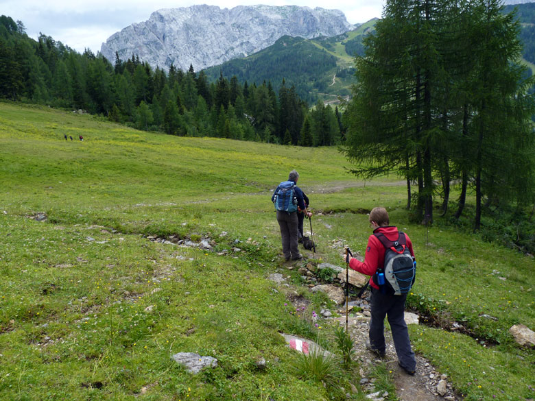 en dan sluit het weer aan op de asfaltweg bij de Alpenhof en Watschiger Alm