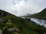 bewolkte dag, afdaling via het Taschachtal