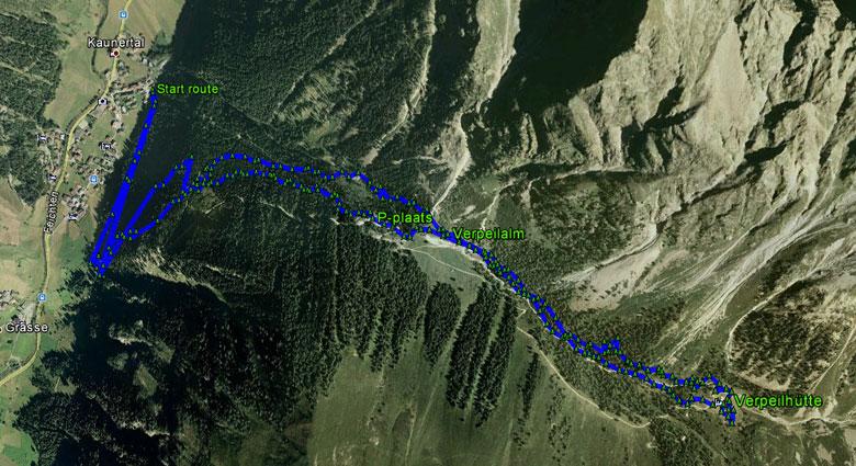 routekaart wandeling naar de Verpeilhütte