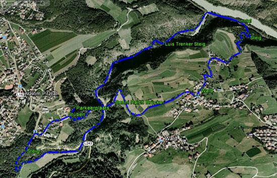 routekaart rondwandeling Benni Raich Brücke en Luis Trenker Steig