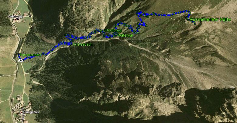 routekaart wandeling Rüsselsheimer Hütte