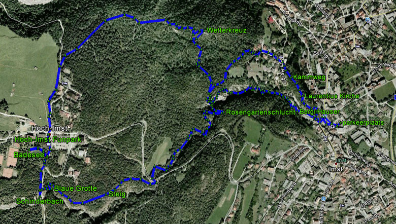 routekaart rondwandeling Rosengartenschlucht