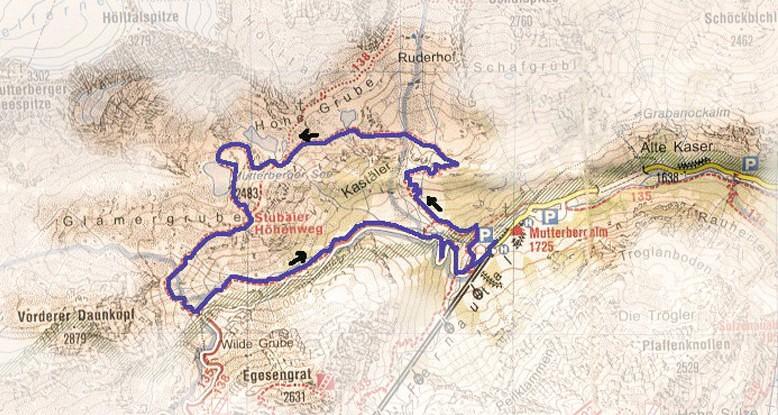 routekaart Mutterberger See
