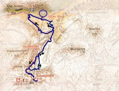 routekaart Sulzenaualm en Sulzenauhütte