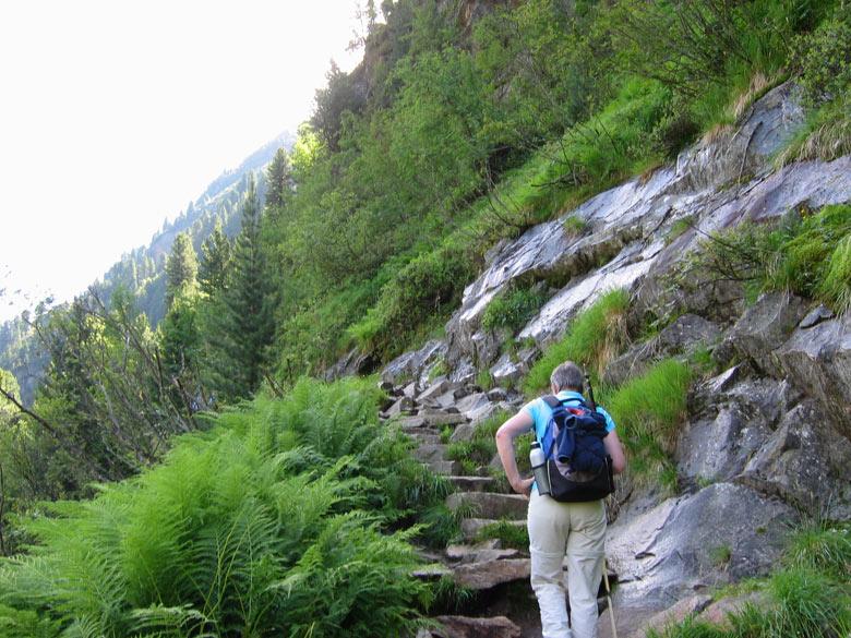 op de splitsing bij de rotswand gaan we linksaf omhoog